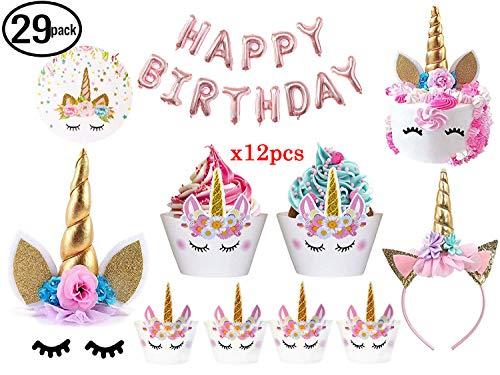 Decoración para tartas de unicornio de Bitian con pestañas, diadema, envoltorios para cupcakes y pancarta de cumpleaños/suministros de fiesta de unicornio Balloon Banner