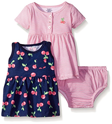 Gerber Baby Three-Piece Dress and Diaper Cover Set, Cherries/Exclusive, 24 Months