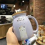 ZSQQSCL Le Lait Le Café Tasse En Céramique,Personnalité Créatrice Cartoon Cute Animal Chat Violet Mug, Chocolat Chaud Thé Café Capacité 450Ml Tasse Pour Verre Du Matin Office Essentials Anniversair