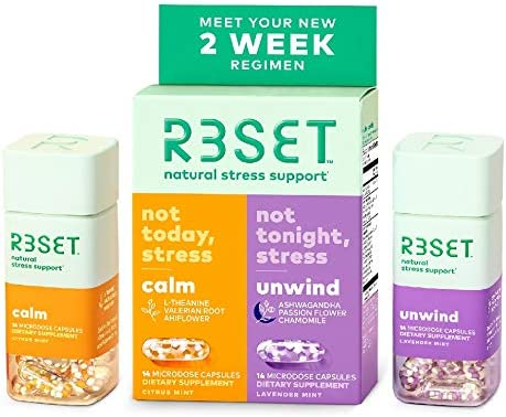 R3SET 14 Day Combo Calm Unwind 100 Natural Botanical Stress Anxiety Support Supplement Relaxation product image