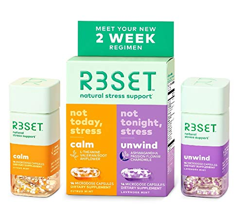 R3SET 14 Day Combo | Calm & Unwind | 100% Natural & Botanical Stress & Anxiety Support Supplement | Relaxation, Focus & Sleep Support | Non-GMO & Gluten-Free | Made in USA | 28 Vegan Capsules