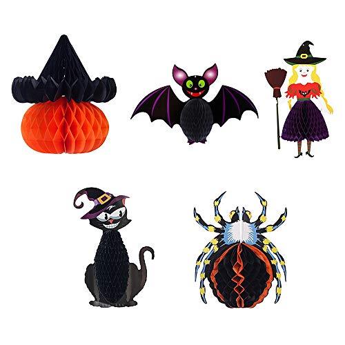 CXZC 5 farolillos de papel plegables para decoración de Halloween, diseño de araña, bruja, gato, murciélago, para interior y exterior