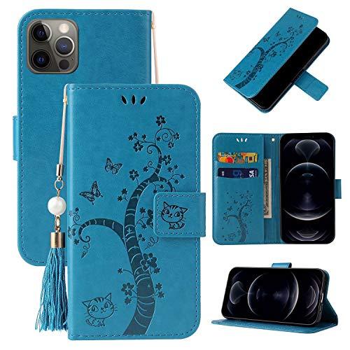 Miagon Brieftasche Flip Hülle für iPhone 12,Schön Schmetterling Baum Katze Design PU Leder Buch Stil Stand Funktion Handyhülle Case Cover,Blau