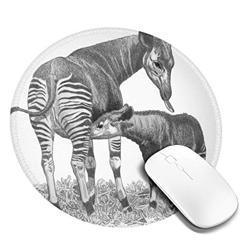 Yuanmeiju Round Mouse Pad Okapi Drawings Customized Designs Non Slip Rubber Base Gaming Mouse Pads for Mac,7.9x7.9 in Pc, Computers. Ideal for Working Or Game