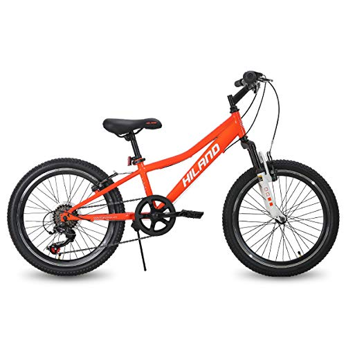 Hiland 20 Inch Kids Bike Mountain Bicycle for Ages 4 5 6 7 8 9 Years Old Boys Girls White Orange