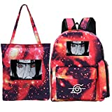 YHGTRBFC Anime Naruto circundante mochila de ocio al aire libre mochila grande de tres piezas + bolso + estuche de lápices-juego de polvo de estrellas 1, talla única