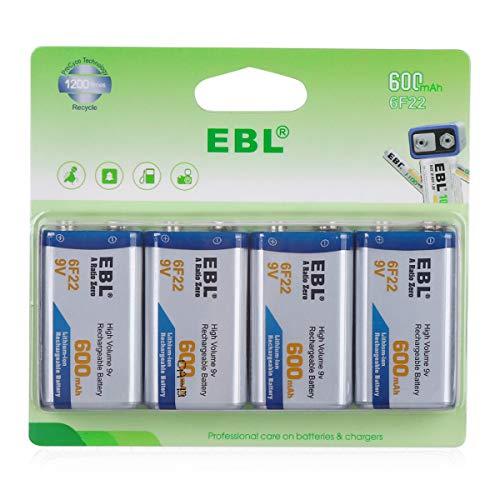 EBL 9V Rechargeable Lithium Batteries 600mAh Li-ion 9V 6F22 Batteries, Pack of 4
