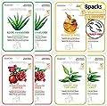 MEAROSA Natural Face Mask Sheet Mask Korean Skin Care premium Qualith Vitamin C Anti-aging Care Natural Collagen Essence Sensitive skin(8 Sheet Variety pack)