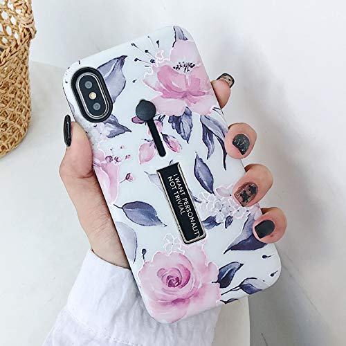 iPhone 11 Case Finger Grip,3D Embossed Pink Flowers White Shell Design,Rugged Shockproof Slim Fit Dual Layer Finger Ring Loop Strap Case,Invisible Bracket Phone case for iPhone 11 - MADINCN(White)
