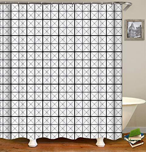 LGY Haus Dekoration. Schwarzes Graues Quadrat. Duschvorhang 180X180Cm. 3D Hd-Druck. Wasserdichtes Gewebe Freier Haken. Geben Sie 12 Haken Frei.