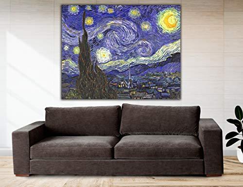 Cuadro Lienzo La Noche Estrellada de Vicent Van Gogh - 50x39cm - Lienzo de Tela Bastidor de Madera de 3 cm de Grosor - Fabricado en España - Impresión en Alta resolución y Calidad (50, 39)