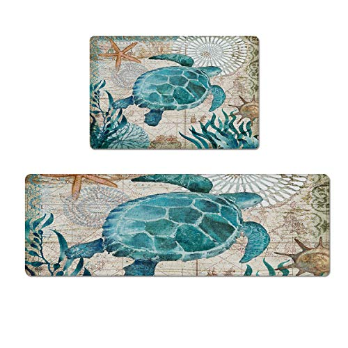 Kitchen Rug Set 2 Pieces Comfort PVC Leather Standing Desk Mat, Sea Turtle Ocean Animal Landscape Non Slip Indoor Doormat Runner Rug Set (18'x30'+18'x47')
