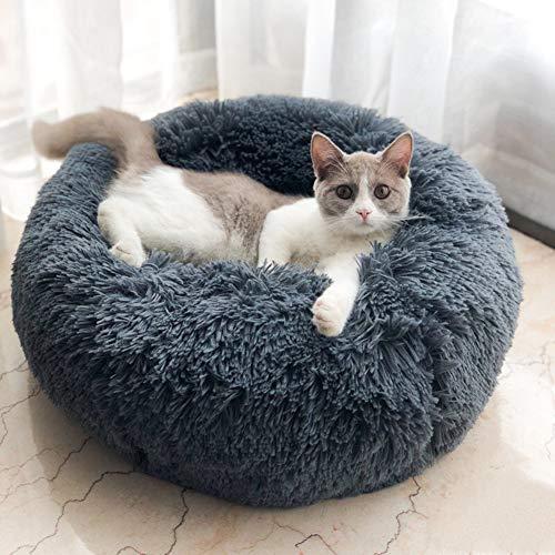 Lamzoom Cama antideslizante para mascotas, gatos, perros pequeños, medianos, gatos y perros pequeños, peluche con cojín suave, redondo, transpirable, acogedor, cama para gatos y perros pequeños