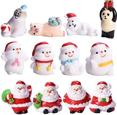 PRETYZOOM 12pcs Christmas Fairy House Miniature Ornaments Kit Santa Bear Snowman DIY Snow Globe product image