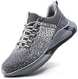 UCAYALI Zapatos de Seguridad Hombre Mujer Antideslizante Zapatillas de Trabajo con Puntera de Acero Ligeros Bambas de Seguridad Gris Gr.41