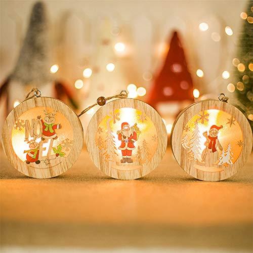 3PCS Christmas Creative Glowing Pendant Wooden Hanging Tag for Xmas Tree,2020 Christmas Decorations Santa Claus Snowman Elk Lantern Ornaments Decoration
