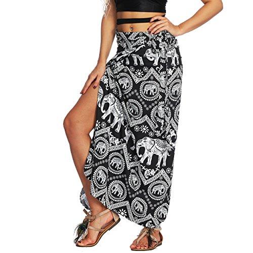 Nuofengkudu Damen Lange Hippie Rocke Luftige Boho Thai Muster Binden Taille Elegante Zigeuner Maxi Röcke Skirts Schwarz Elefant