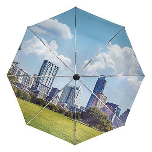 Kleiner Reiseschirm Winddicht Regen im Freien Sonne UV Auto Compact 3-Fach Regenschirmabdeckung - Central Park Panorama Hohe Gebäude