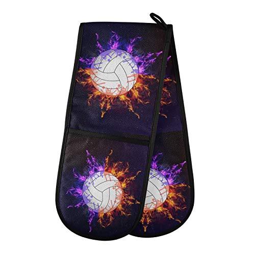 TropicalLife DLBBABZ - Manoplas de horno dobles antideslizantes, resistentes al calor, para cocinar y hornear