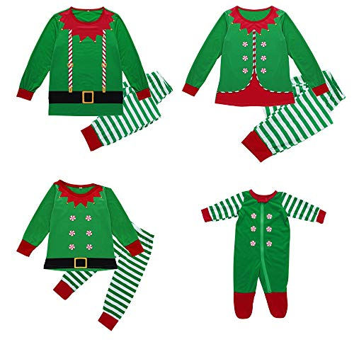 Fossen Kids Pijamas Familiares Navidad, Pijama Navidad Familia de Manga Larga Conjunto de Mujer Hombre Bebe, Traje de Navidad Elfo Invierno