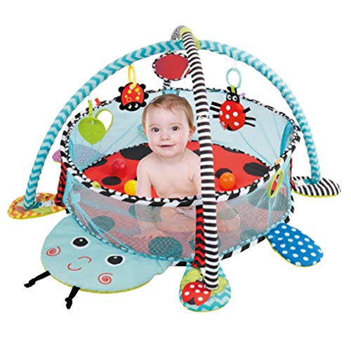 Tapis de Jeu pour bébé Gymnases pour bébé Tapis de Jeu pour bébé et Mannequin Tapis de Jeu Coccinelle 3 en 1 avec 30 balles