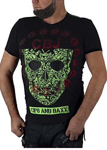 Cipo & Baxx Herren T-Shirt Kurzarmshirt Totenkopf Strasssteine Glitzer CT545 (XXL, schwarz)