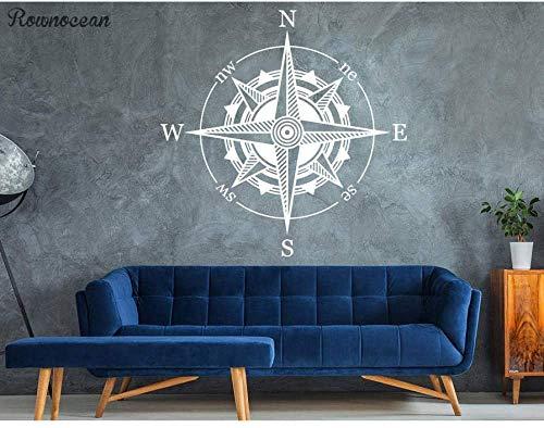 Kompass Wandtattoo Nautisches Dekor Kompass Wandkunst Reise Vinyl Aufkleber Für Wohnzimmer Selbstklebende Tapete 57 * 57