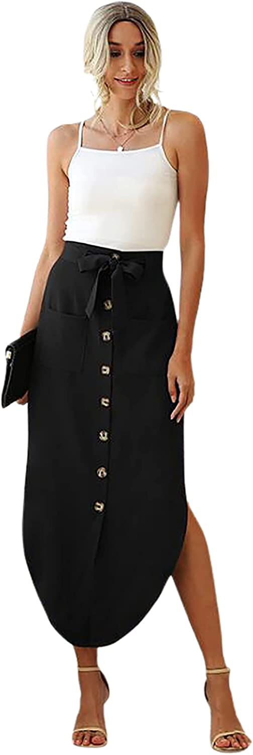 CHARTOU Women's Slim High Rise Button Up Bow Tie Pockets Wear to Work Midi Skirt