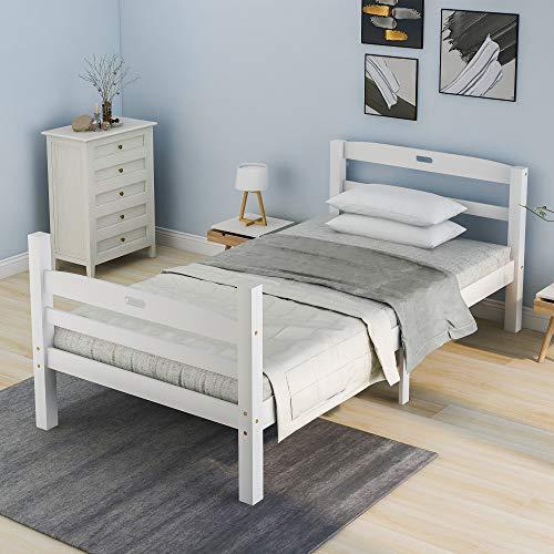 Solide Holzbett Einzelbett Holzbett aus Bettgestell mit Lattenrost Futonbett mit Kopfteil Massivholzbett Bett für...