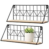 Mkouo Wall Mounted Floating Shelves Set of 2 Rustic Metal Wire Storage Shelves Display Racks Home Decor, 35cm