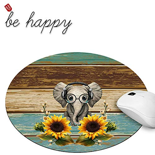 Round Mouse Pad with Sunflower Elephant Gaming Mouse Pads for Laptop Computers Non-Slip Rubber Base Mousepad for Office Home, Cute Mouse Mats and Be Happy Stickers