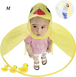 Duck Umbrella - Aolvo UFO Raincoat Cute Cartoon Duck Raincoat for Kids Foldable Toddler Rain Jacket Hands Free Poncho Waterproof Cloak with Hood for Baby Boys and Girls, Medium Size (Yellow Duck)