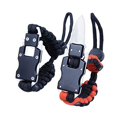 2 Pack Adjustable Paracord Knife Bracelet, Survival Cord Bracelet with Knife, Emergency Multitool Tactical EDC Survival Gear for Men Women Hiking Running Hunting Camping Fishing (Black & Black Orange)