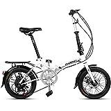 GOLDEN MANGO Vélo Pliant De 16 Pouces À Vitesse Variable Adulte Vélo Pliant Léger Vélo Double-Vélo Pliant Frein À Disque (Taille: 150 * 30 * 96Cm),Blanc