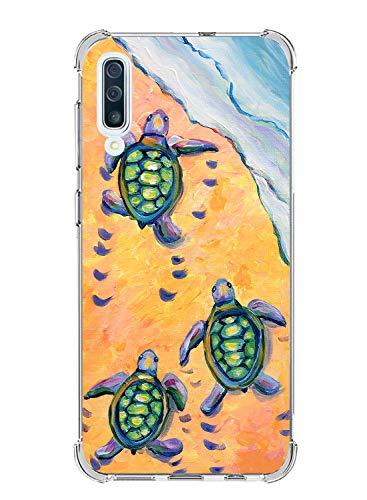 Suhctup Compatible con Samsung Galaxy A70/A70S Funda para Silicona con Dibujos Animados Diseño Cárcasa Ultra-Fina Transparente Suave TPU Choque Cojín de Esquina Parachoque Caso-Tortuga 1