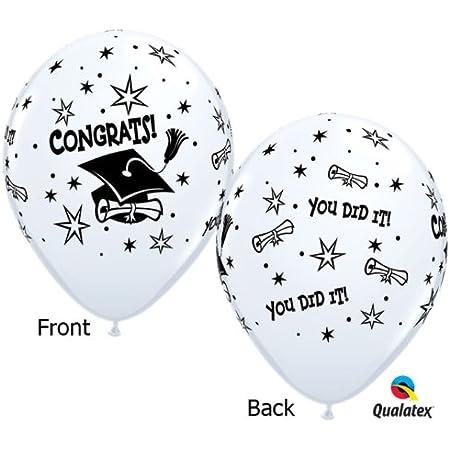 Graduation foil balloons and 2 gold foil balloons 18. 1 w Congrats Grads printed and a cap 26