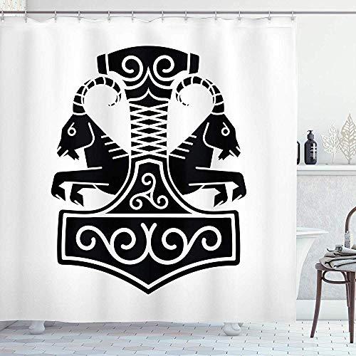 NA Mjolnir-Duschvorhang, Hammer von Thor mit 2 Ziegen, die den Streitwagen in der nordischen mystischen Illustration ziehen, Stoff-Schwarz-Weiß