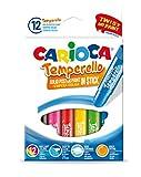 CARIOCA TEMPERELLO | 42738 - Tempere Solide in Stick, Colori Assortiti Brillanti e Coprenti, 12 pezzi