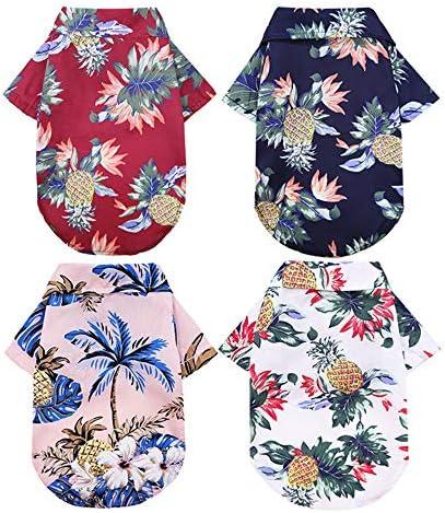 sensiya 4 Pack Hawaiian Dog Shirt Summer Sweatshirts pet Shirt Cool Breathable Dog Clothes Small product image