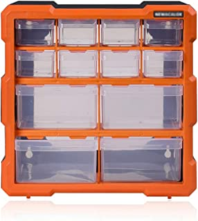 Hardware Box Storage, 8 Compartment Organizer Desktop, Wall Mountable Container, for Tools, Fishing Tackle, Toys, Lego, Art, Craft, Orange