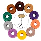 iPobie 20 pezzi Feltro Rondella Cuscino,Piatti Feltri per Tamburo,Feltrini Accessori per Batteria,Multicolore