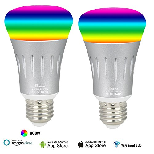 2Pack Smart WiFi LED Light Bulbs 7W 600Lumen 6000K Ultra Bright Color Changing Dimming Wireless Lighting No Hub Required Work with Amazon Alexa Echo Tap Dot and Google Home