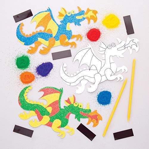 """Baker Ross Sandkunst-Bastelset """"Drache"""" mit Magneten (6 Stück) – für Kinder zum Basteln"""