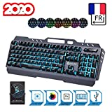 KLIM Lightning - Nouvelle Version 2020 - Clavier Gamers Hybride Semi-Mcanique AZERTY + Choix de 7 Couleurs + Garantie 5 Ans - Structure en Mtal - Clavier Gamer Gaming Jeux Vidos PC PS4 Xbox One