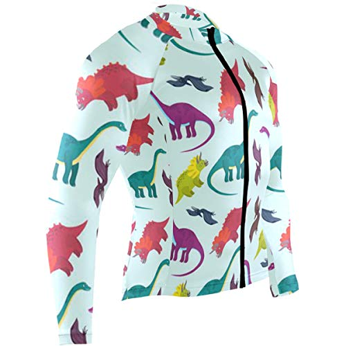 SLHFPX Dinosaurs Cartoon Mens Cycling Jersey Top Long Sleeve Outdoor Bicycle Clothing Outfit