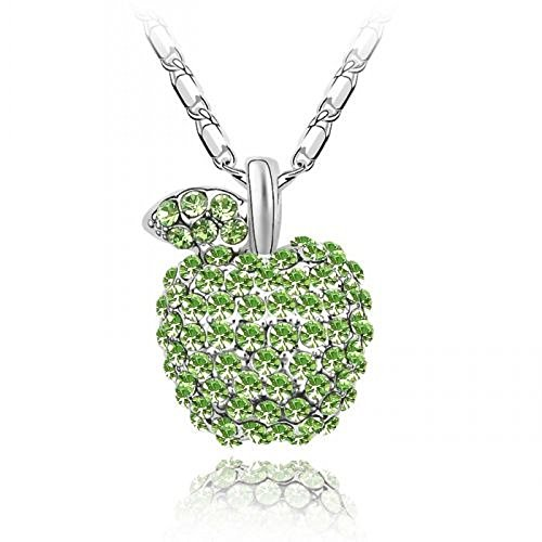 Blue Chip Unlimited Sparkling Green Colored Apple Charm Necklace 258