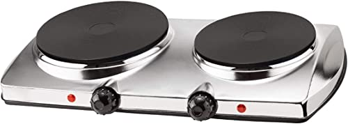 new arrival Stainless Steel online Double Hot Plate Burner Chrome Finish Auto online Shut Off 1500W sale