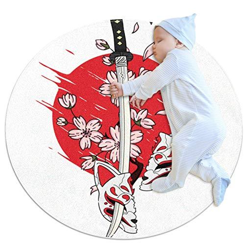 Z&Q Alfombrilla Redonda antifatiga Comfort para Cocina Pétalos de Flor de Espada Alfombra Lavable a máquina para Piso de Cocina, con Respaldo de látex Antideslizante 70cm