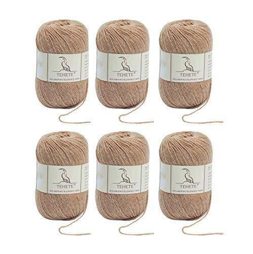 TEHETE Ovillo de lana, Hilados lana merino,6 Bolas x 50g, Hilo para manta,suéter calcetín, bufanda, diy, ganchillo y tejido-Caqui