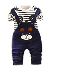 Bold N Elegant Blue White Cute Cartoon Dungaree Baby Boy Girl Clothing Jumpsuit Half Sleeve T-Shirt with Dungaree for 0-2 ...